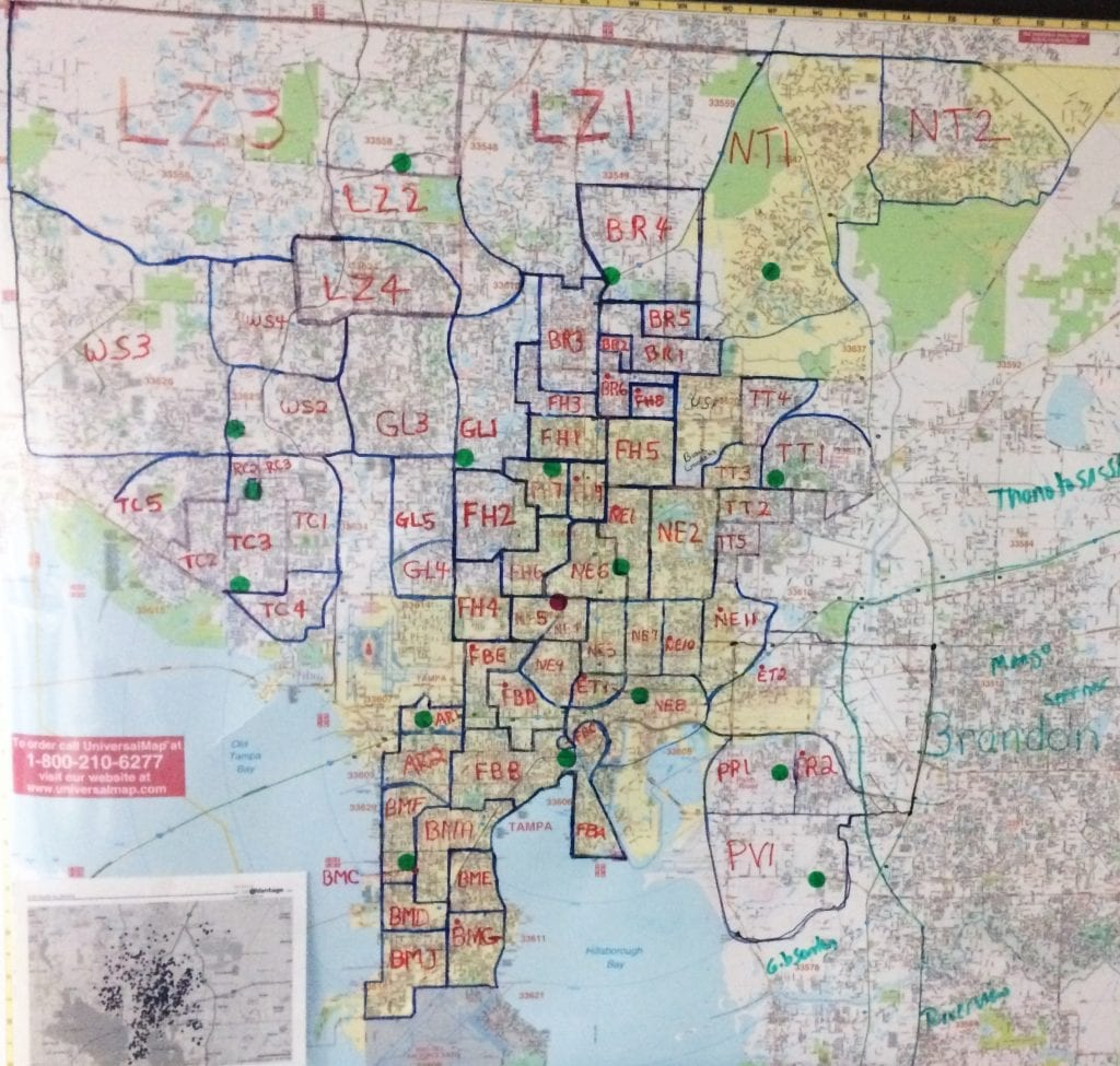 Meals On Wheels of Tampa serves neighbors in the greater Tampa area. Volunteers deliver 71 routes M-F, and on the 3rd Sat of every month. Pick up sites are identified by green dots.