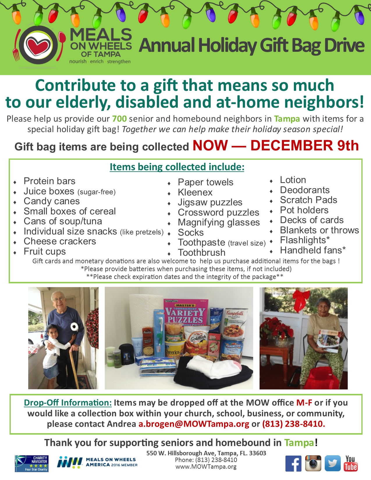 meals on wheels of tampa s annual holiday gift bag drive contribute to meals on wheels of tampa s annual holiday gift bag drive items are being